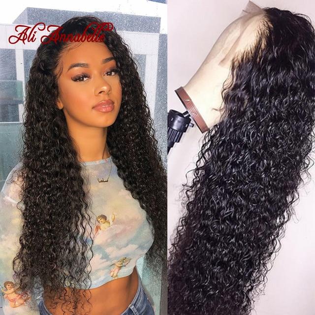 Pelucas de pelo humano delanteras de encaje rizado de ALI Anabelle Peluca de pelo Remy malasio con pelo de bebé Natural color
