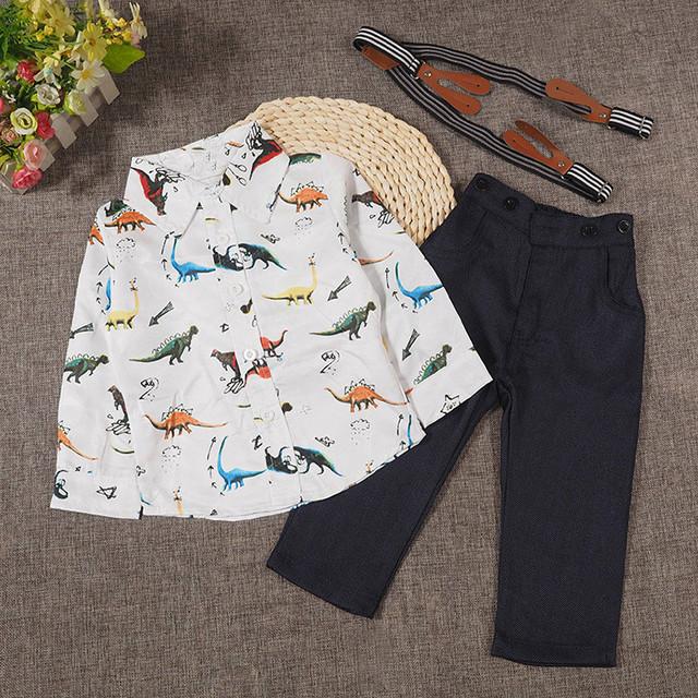 Vestuário 2017 das Crianças para o bebê Primavera Outono dinossauro impressão terno de manga Comprida t-shirt + calças 2 pcs conjunto de roupas de moda infantil