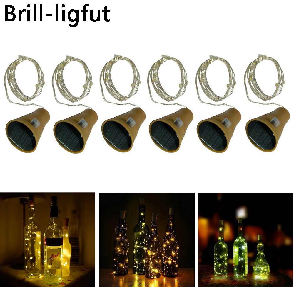 10leds 15leds 20leds Solar Powered Wine Bottle Cork Shaped LED String Lights Copper Wire Christmas Fairy Light For Party Wedding(China)