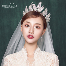 HIMSTORY Luxury Clear Crystal Feather Shape Bridal Tiaras Crown Wedding Hair Jewelry Accessories Headpiece Pageant hairwear