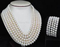 Мисс Очарование Jew.73 благородные Редкие 5 ряд AAA + размером 7 8 мм, белые пресноводные жемчужины, комплект из ожерелья и браслеты (A0423)