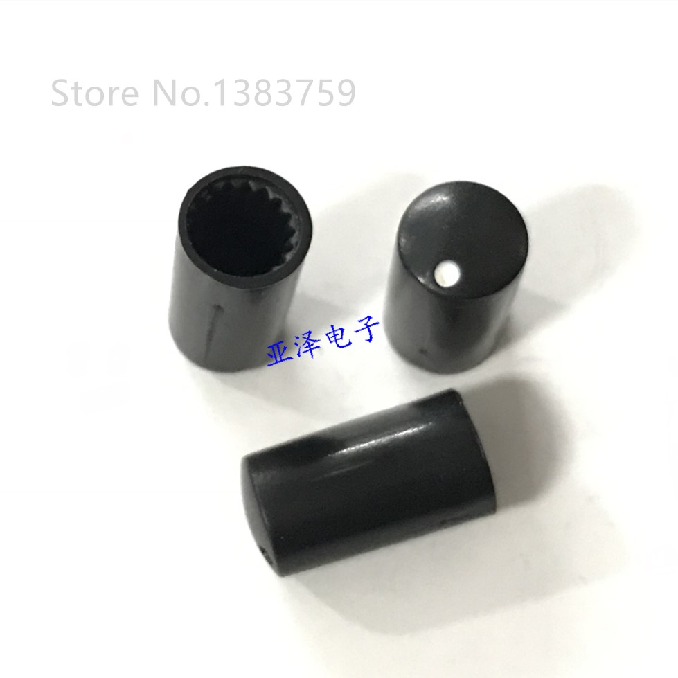 10pcs 7.5*14MM Potentiometer Knob 6MM Serrated Hole Potentiometer Matching Hat Black