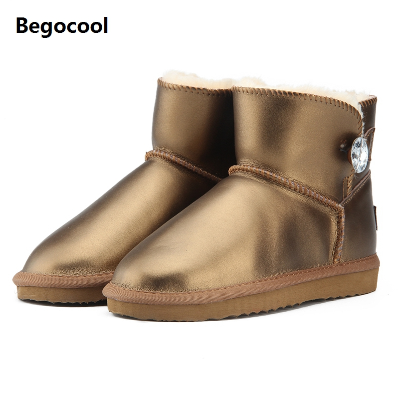 Begocool Fashion Genuine Leather Women Snow Boots UG Winter Boots Warm Ankle Boots Waterproof Classic Warm Winter Shoes US3.5-13