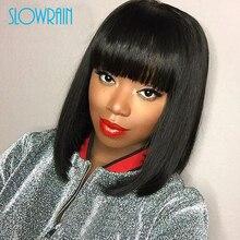 Brazilian Short Bob Wigs For Black Women Brazilian Full Lace Wigs With Bangs Glueless Lace Front Wigs Human Hair Bleachecd Knots