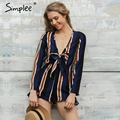 Simplee Apparel sexy bow striped women jumpsuit romper Summer style long sleeve party overalls Fashion club playsuits leotard
