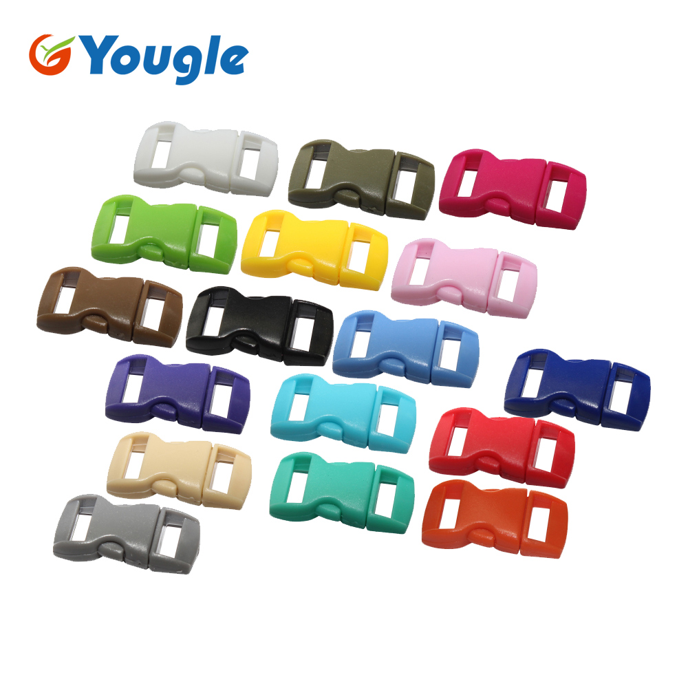 "50 Pcs 3/8"" Mix Color Shackle Contoured Curved Side Release Plastic Buckle For Paracord Bracelet"