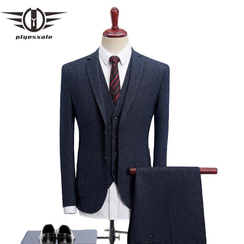 Plyesxale 2018 trajes de hombre para boda Slim Fit 3 piezas trajes de vestir para hombre marca de moda Pantalones de chaqueta de lana para hombre chaleco Q503-in Trajes from Ropa de hombre    1