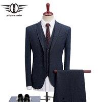 Plyesxale 2018 Men Suits For Wedding Slim Fit 3 Piece Mens Dress Suits Fashion Brand Male Woolen Suit Jacket Pants Vest Q503