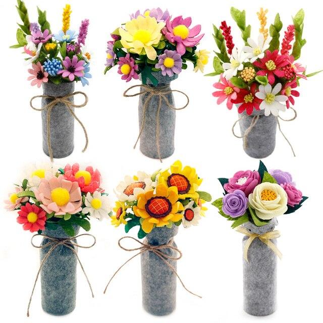9 Styles Simulation Bouquets Felt DIY Package Free Cut Felt Cloth ...