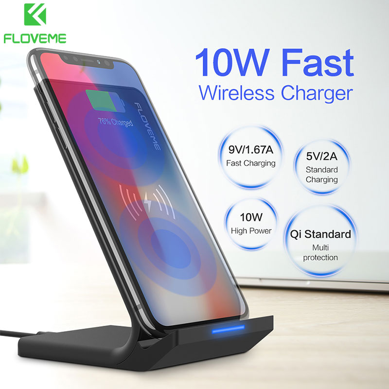 Qi Caricatore Senza Fili Per iPhone X 8 XR XS Max FLOVEME 10 w Veloce Senza Fili di Ricarica da Tavolo Stand Per Samsung nota 8 9 S8 S9 Più S7 S6