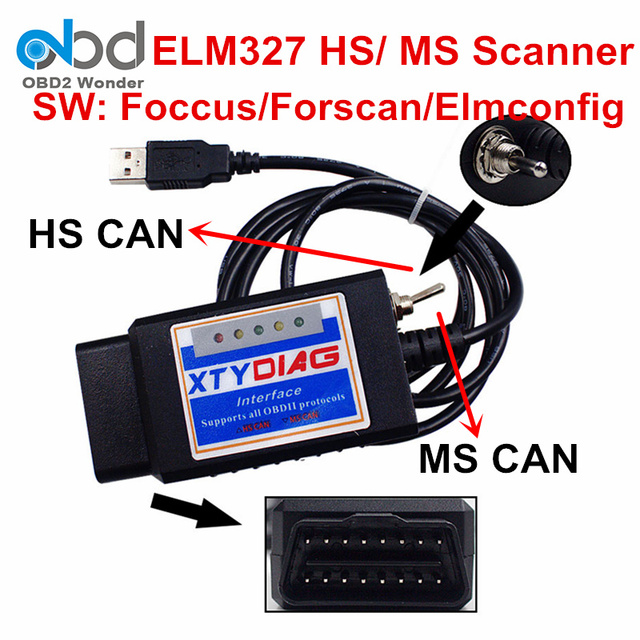 ELM327 USB HS MS Switch OBDII Scanner ELM 327 V1.5 OBD2 Scan Tool Plastic ELM327 Support All OBDII Protocols PIC18F25K80 + FTDI
