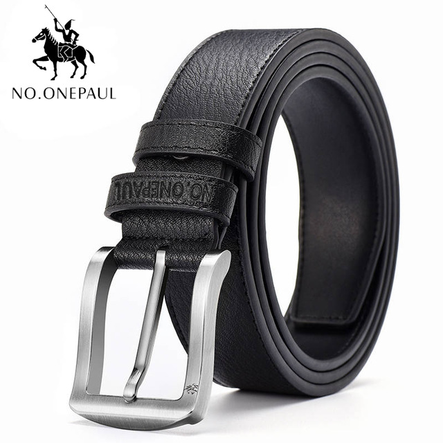NO.ONEPAUL buckle men belt High Quality cow genuine leather luxury strap male belts for men new fashion classice vintage pin - Цвет: Z2222 black