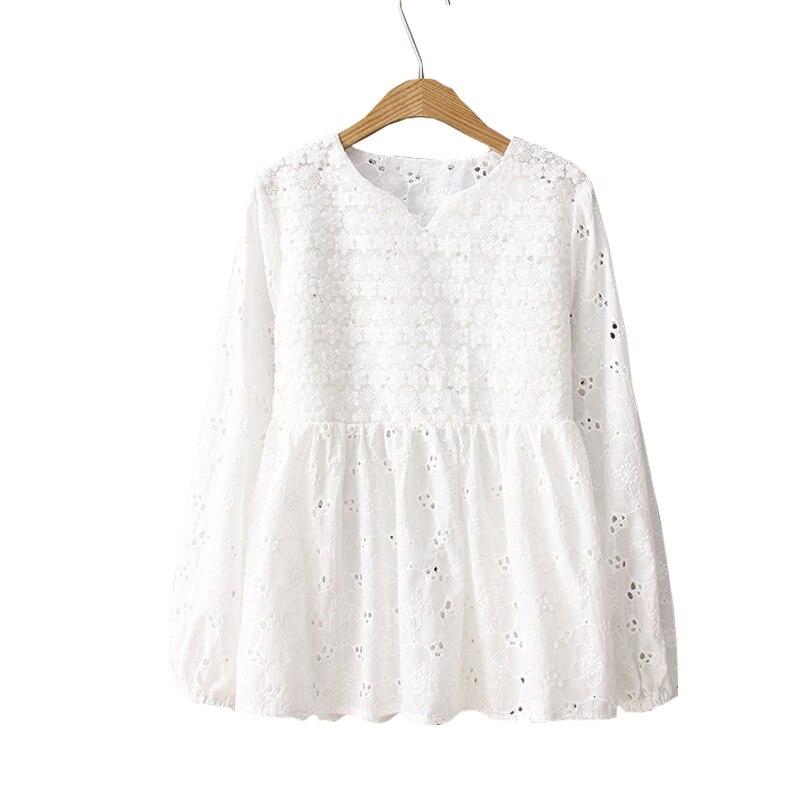 5905d63c106 2019 Женская хлопковая и льняная блузка с длинным рукавом Женские топы и блузки  женские белые рубашки