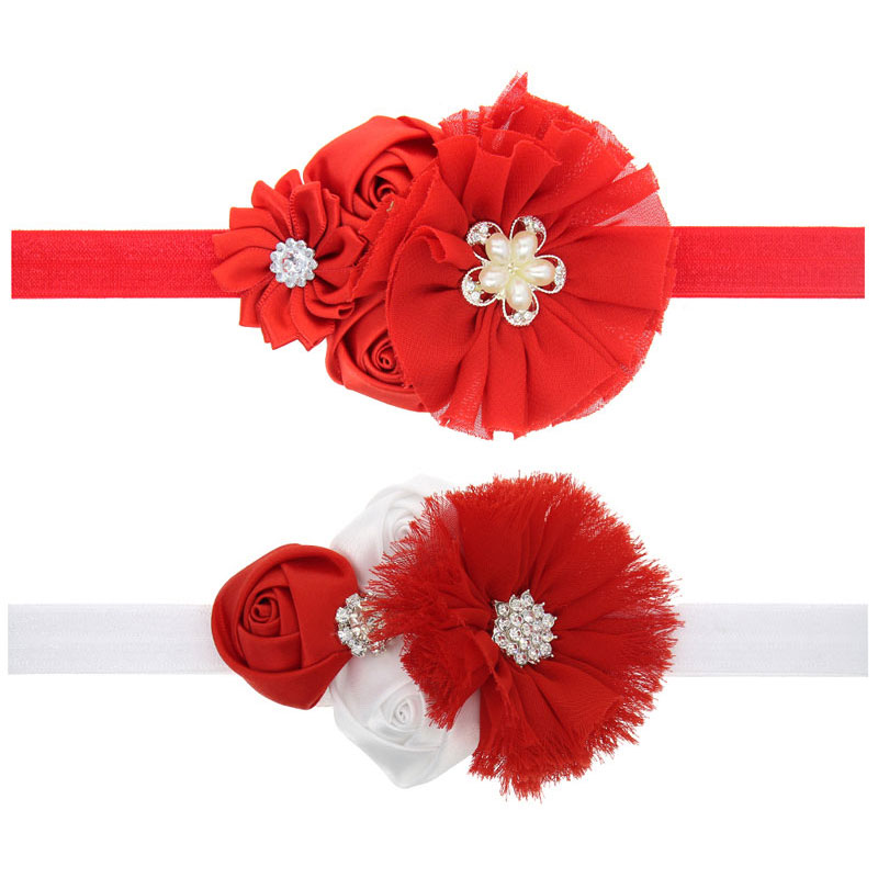 Free shipping baby girl's Christmas headbands Children Infants Rose Flower hair Accessories with rhinestone decorate 1pc HB464 2014 free shipping triple mini satin rose flower with rhinestone clip fabric eyelet flower hairpin hair accessories8pcs lot