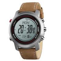 Fascia del Cuoio di Modo degli uomini Multi-Funzione di 5ATM Quadrante In Acciaio Inox Sport Mountaineer Orologio Altimetro Barometro Termometro