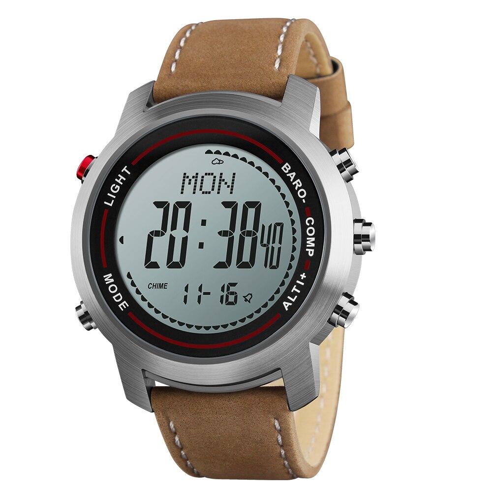 Homme mode cuir bande multi-fonction 5ATM en acier inoxydable cadran alpiniste sport montre altimètre baromètre thermomètre
