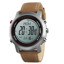 Mens Fashion Leather Band Multi Function 5ATM Stainless Steel Dial Mountaineer Sports Watch Altimeter Barometer Thermometer