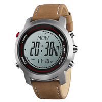Men's Fashion Leather Band Multi Function 5ATM Stainless Steel Dial Mountaineer Sports Watch Altimeter Barometer Thermometer