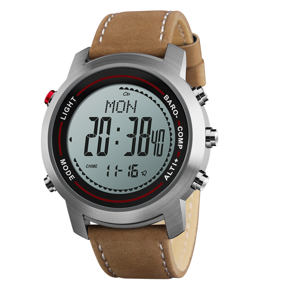 Men's Fashion Leather Band Multi-Function 5ATM Stainless Steel Dial Mountaineer Sports