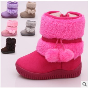 2014 winter snow boots for children wholesale / Christmas thick warm snow boots girls aged 1--3 / Free Shipping