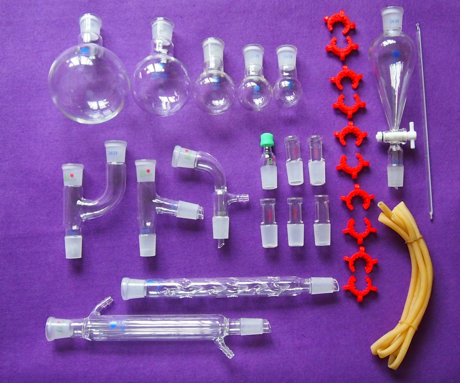 New Chemical Glassware kit Laboratory Glass Set With Ground Joints 24 29 29Pcs