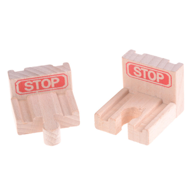 2pcs End Bumper Buffer Stop Set Wooden Railway Track Train Block Toy Gifts 2018