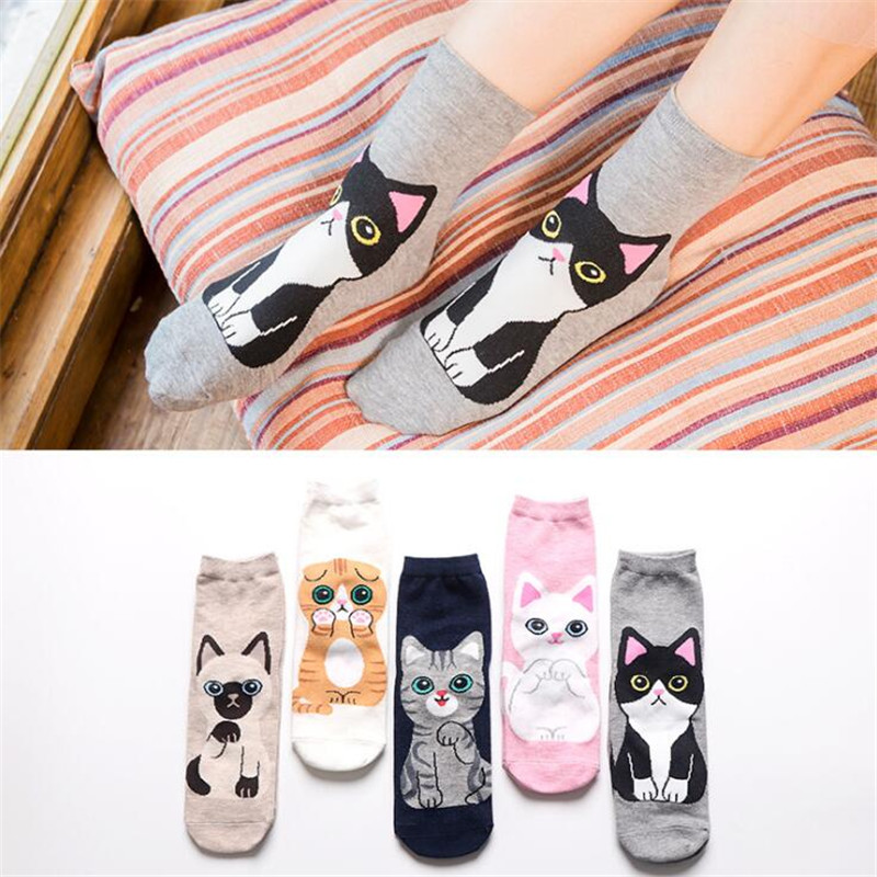Fashion 3D Kawaii Cat Socks Women Funny Happy Cartoon Ankle Socks Animal Cute Socks For Winter Spring Girl Female Harajuku Socks