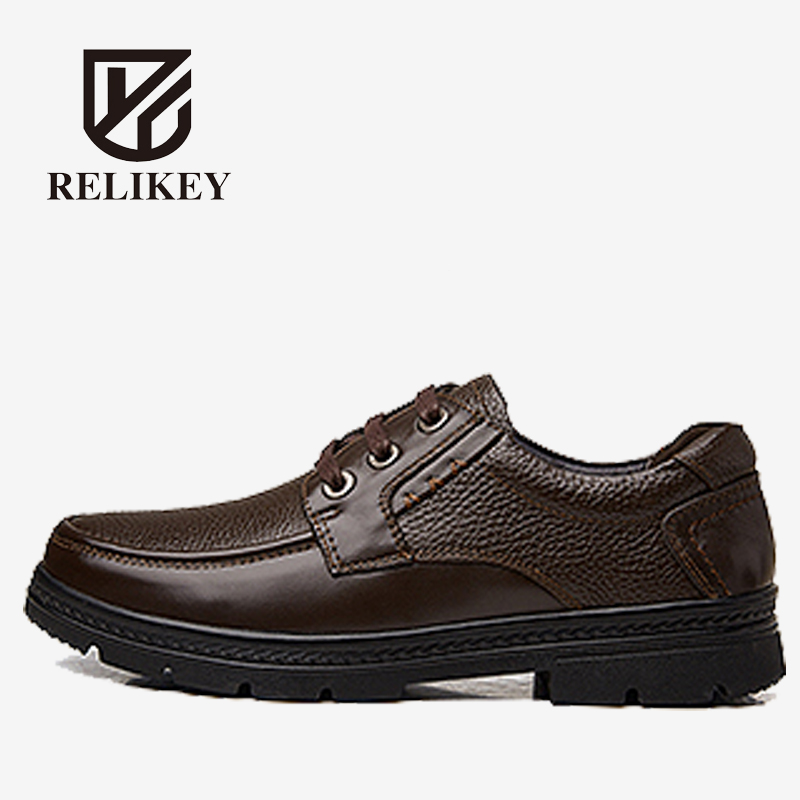 RELIKEY Brand Men Boots Fashion Men Casual Shoes,Top Quality Handmade Genuine Leather Shoes Men,Super Warm Ankle Boots For Men. top brand high quality genuine leather casual men shoes cow suede comfortable loafers soft breathable shoes men flats warm