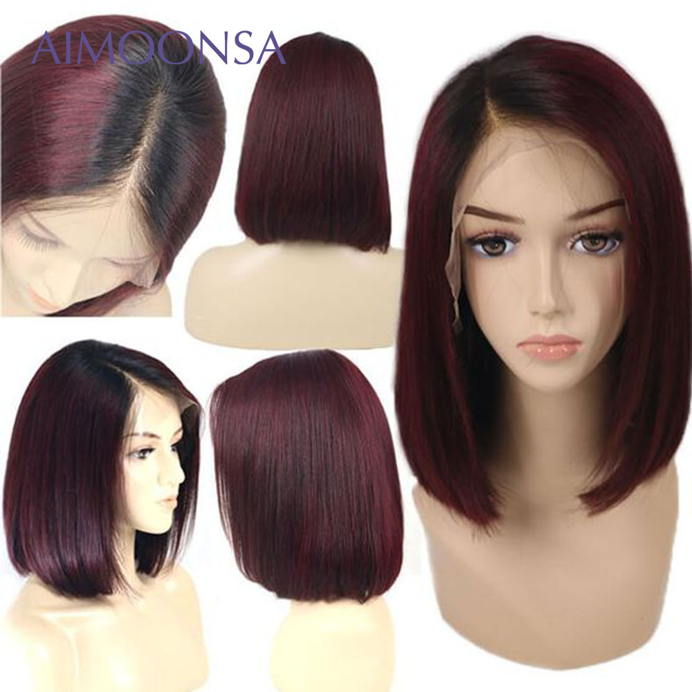 Burgundy Lace Front Wig Colored Ombre Human Hair Wigs Red Hair Straight 1B/99J For Women Peruvian Remy Aimoonsa - 3