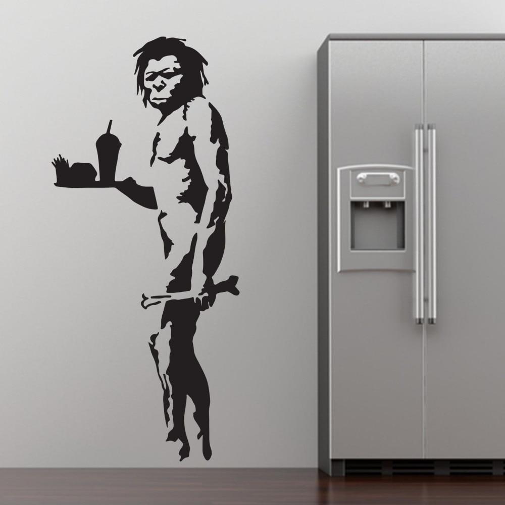 Graffiti art diy - Banksy Fast Food Caveman Graffiti Wall Art Sticker Decal Home Diy Decoration Wall Mural Removable Bedroom