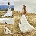 Impresionante Backless bohemio vestido de boda con mangas de encaje Vestidos de Novia Side verano de Split Vestidos de boda de playa vestido de Novia