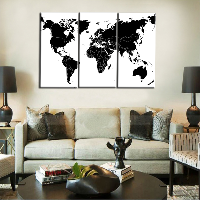 3Panel Digital Print Abstract Black and White World Map Modern Oil Paintings on Canvas Wall Art Picture Sofa Home Cuadros Decor