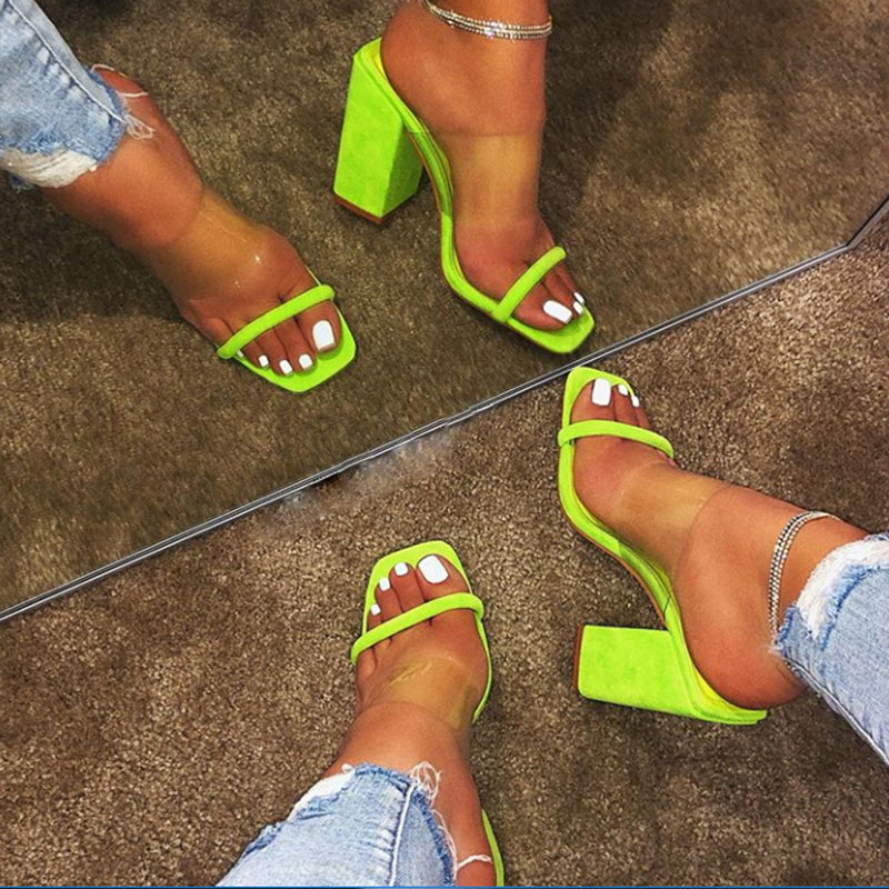 Shoes Slippers Jelly Ladies Sandals Comfortable High-Heels Transparent Female Women Open-Toe