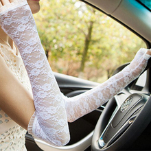 Women Long Gloves Fingerless Embroidery Lace Solid Color Elbow Length Mittens Hook Finger summer