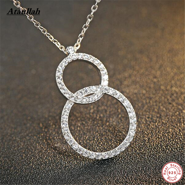 Real Letter 8 925 Sterling Silver Link Chains Long Pendants Necklaces for Women Sterling-Silver-Jewelry Brand Ataullah SSN004