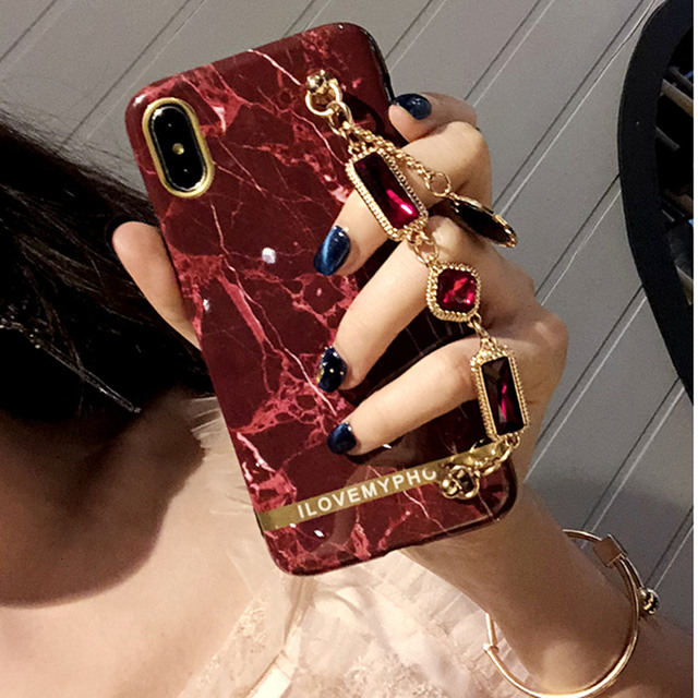 Luxury Marble 3D Shiny Gemstone Bracelet Hair Ball High Quality Silicone cover for iphone MAX XS XR 6 7 8 plus X phone cases