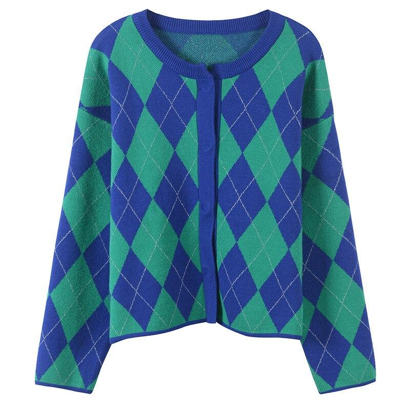 Bleu Automne Nouvelle Manteau Manches Tricoté Veste Chandails Plein Hiver Cou Mode Tenues Rond 2018 Cardigans Lâche Femmes adSqSE