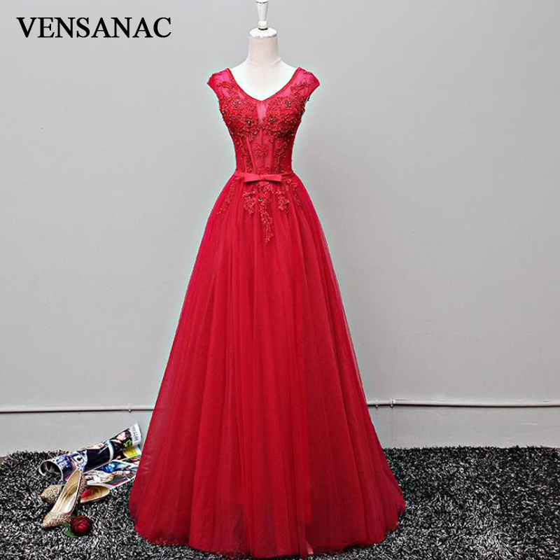 VENSANAC 2018 Lace Appliques V Neck Long A Line Evening Dresses Elegant Party Beadings Bow Sash Tulle Prom Gowns