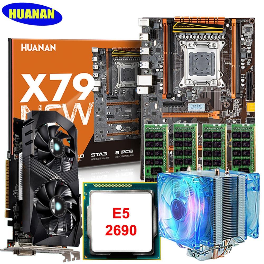 Marke HUANAN X79 deluxe gaming motherboard set mit kühler CPU E5 2690 C2 RAM 64G DDR3 1600 MHz RECC GTX1050ti 4G gddr5 karte