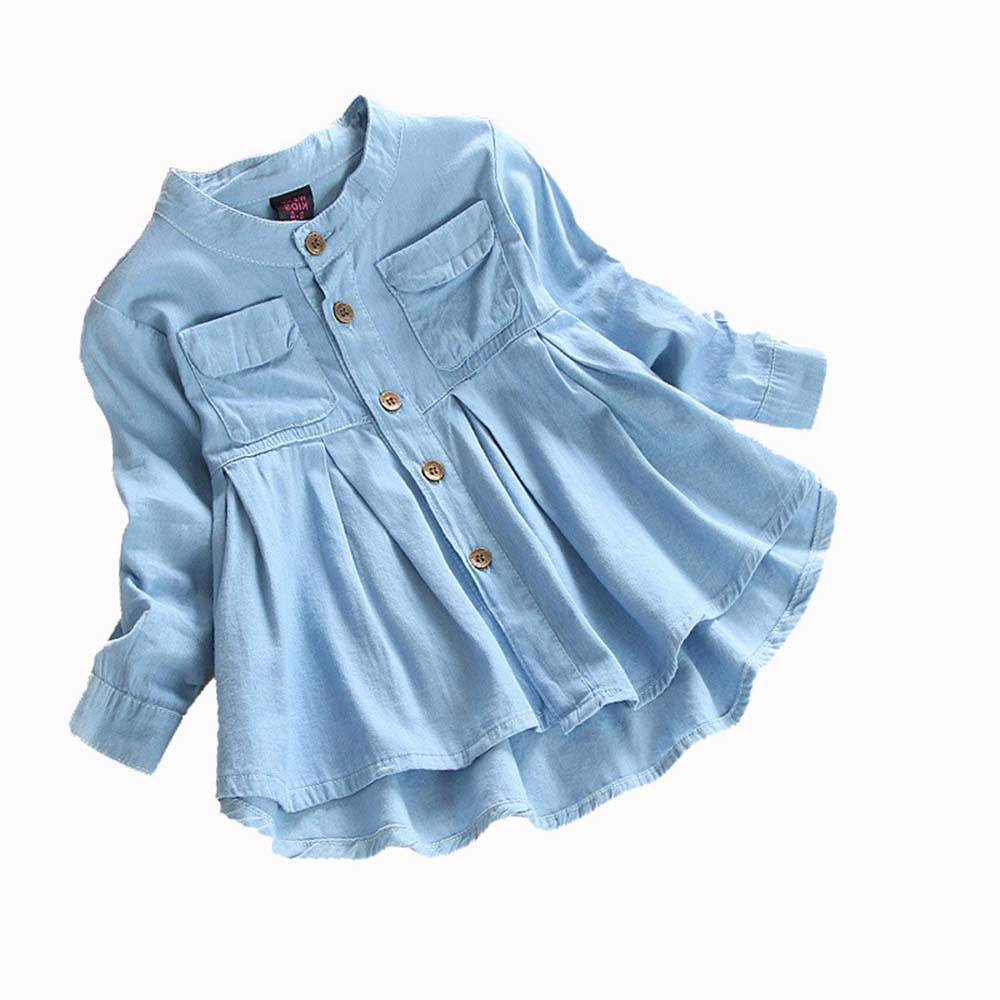 Children Girls Clothing Baby Girls Denim Ruched Long Sleeve T-Shirt Tops Blouse Clothing Solid O-Neck Girls Cute Denim Shirt