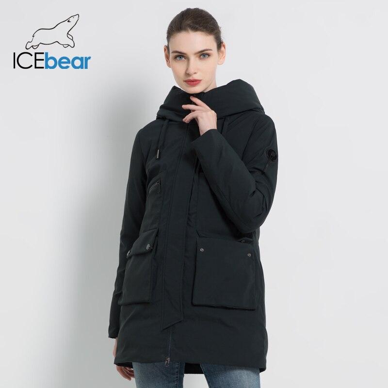 Icebear 2019 novo inverno com capuz jaqueta feminina casaco de moda feminina quente inverno parkas roupas mais tamanho gwd19078i - 2