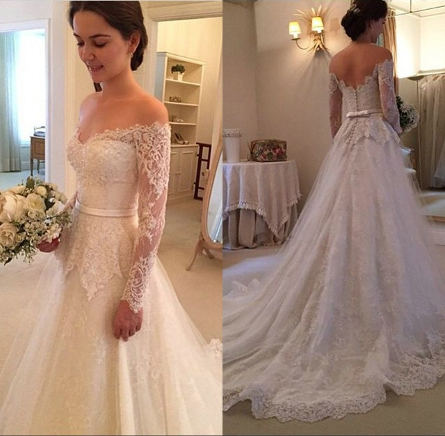 Off Shoulder Lace Covered Long Sleeves Wedding Dress Vintage Style ...
