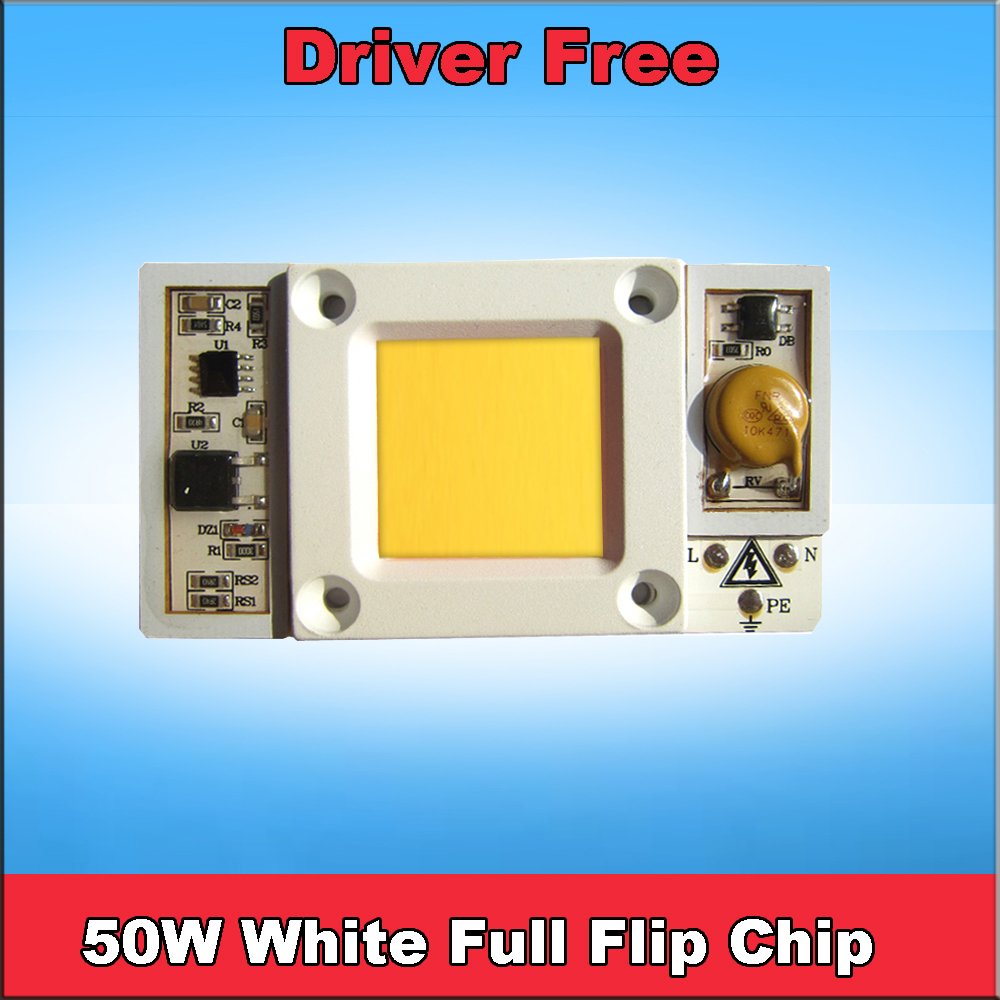 1pcs 50w 220v AC LED Driver Free White Full Spectrum 380nm ~ 780nm Grow LED Chip Lamps for Plants Back with Aluminum Heat sink