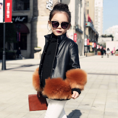 girls PU winter coat kids faux leather black pink sky blue solid cotton thick jacket baby girl warm outerwear children clothes