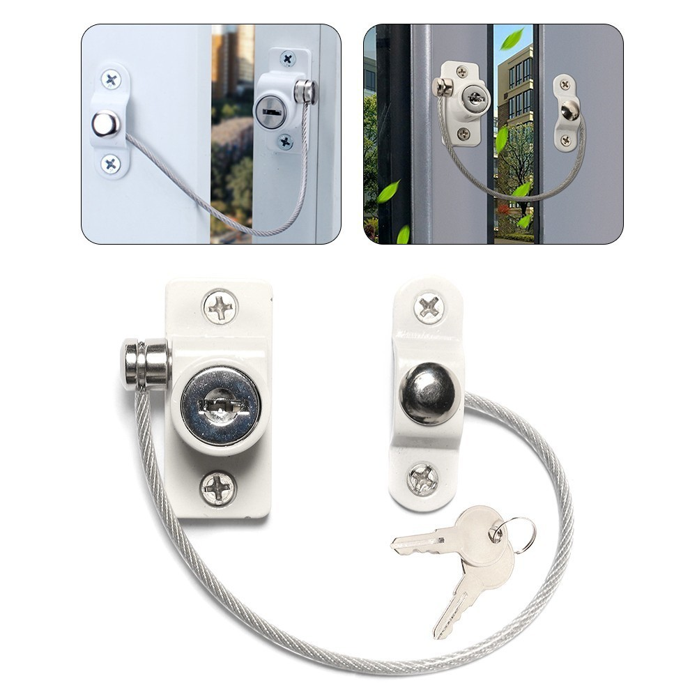 4PcsSet Twisted-pair Door Window Locks Prevent Falling Baby Safety Locks Restrictor Stainless Steel Kids Window Safety Key Locks