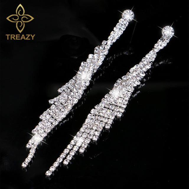 Treazy Crystal Bridal Tel Long Earrings Sparkly Silver Color Rhinestone Dangle For Women Wedding Prom