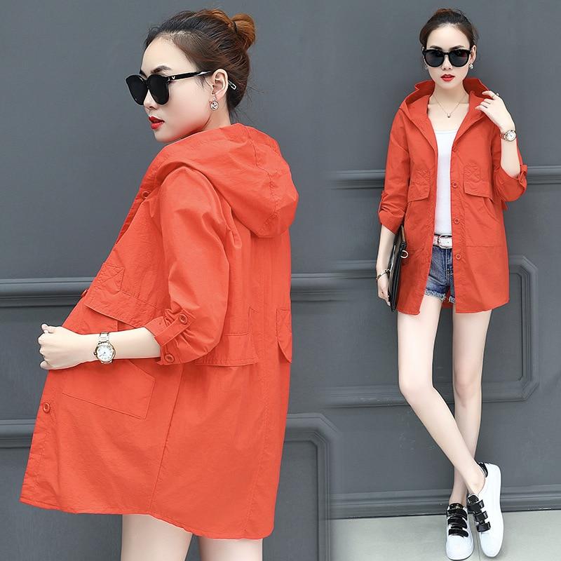 2018 Summer New Female Thin Coat Korean Loose Large Size 6XL 5XL Mid-length Casual Fashion Sunscreen Windbreaker Women Jacket