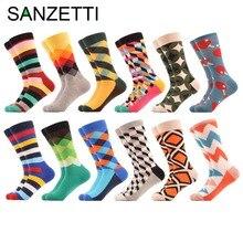 SANZETTI 12 porų / serija Vyriški spalvoti kombineziniai medvilniniai kojinės, dukros pakuotės, argilinės juostos, užpildytos optinės laisvalaikio kojinės, linksmos kojinės