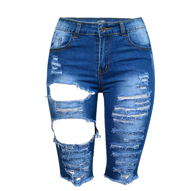 Summer Women Knee Length Tassels Ripped Hole Stretch Denim High Waist Pants Street Style Fashion