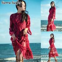 של לבוש חוף נשים בתוספת גודל Pareo לחפות קיץ שמלות לונג שמלת טוניקה 2018 דקה שרוול תחרה החלול אדום סקסית חצאית מוצקה
